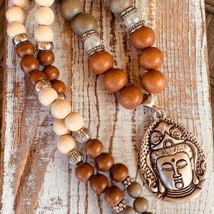 Boho Beaded Necklace, Handmade with 🧡